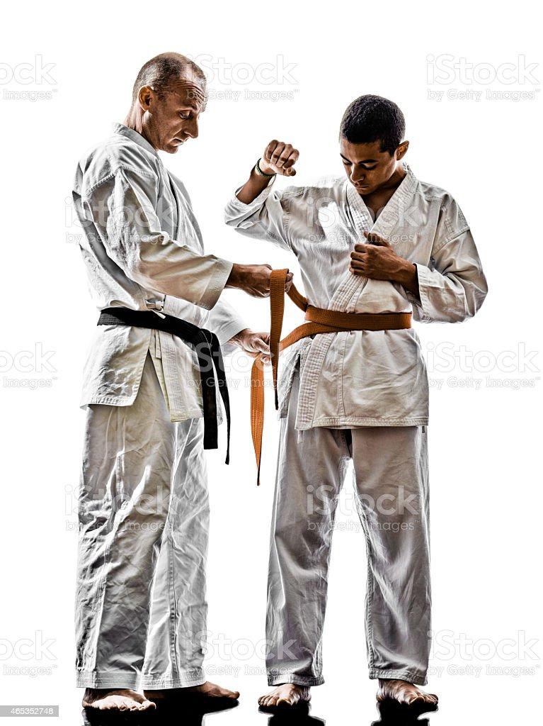 Karate Men Teenager Student Teacher Teaching Stock Photo Download Image Now Istock