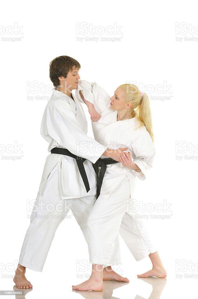 Karate practicing royalty-free stock photo
