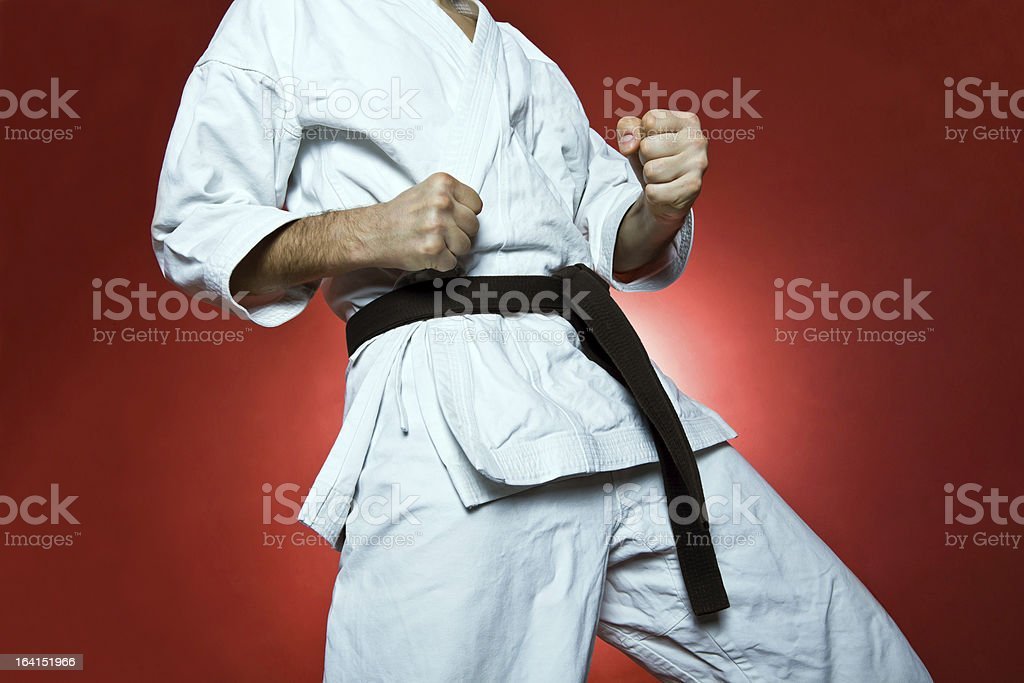 Karate training, sport and fitness at gym stock photo