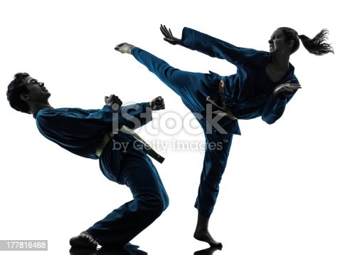 one  man woman couple exercising karate vietvodao martial arts in silhouette studio on white background