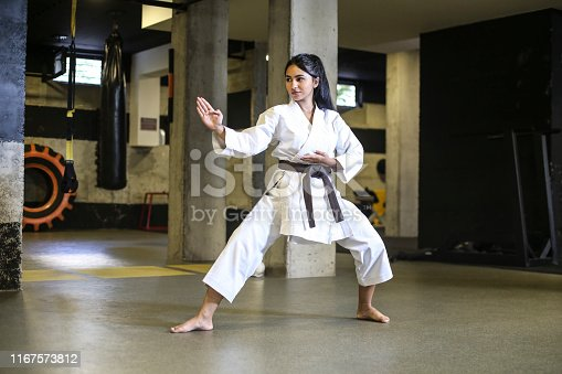 Teenage girl exercising karate. About 18 years old, mixed race female.