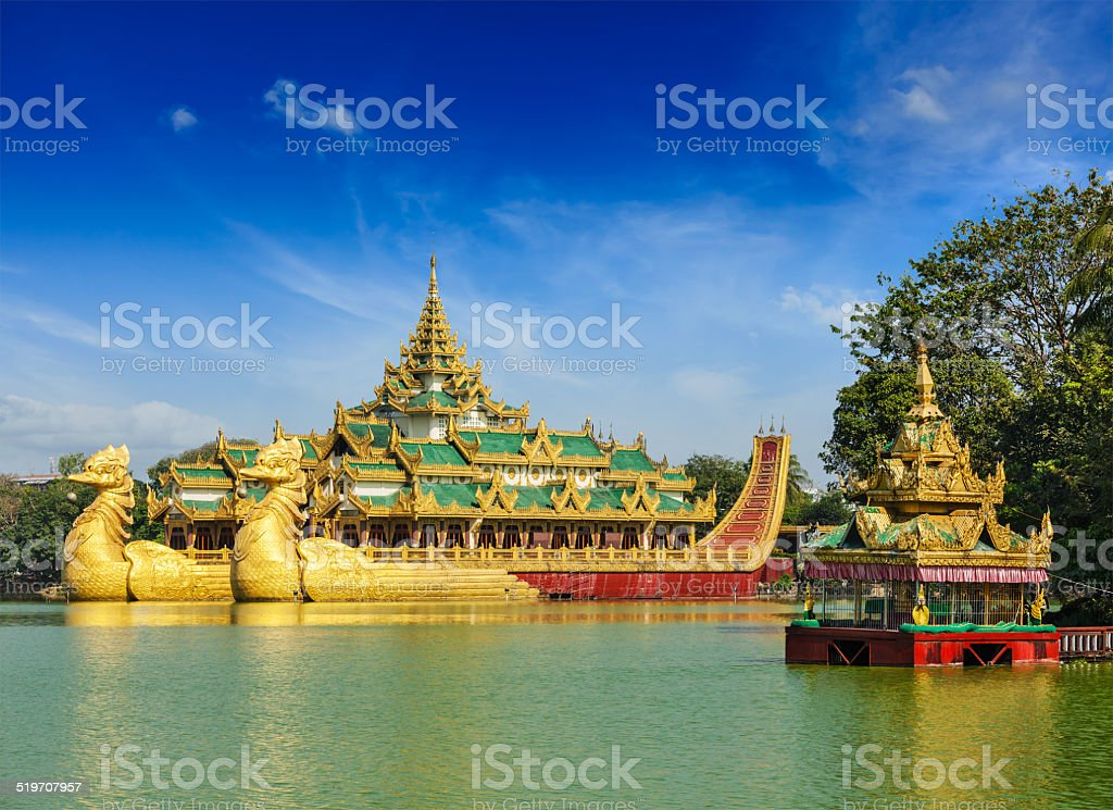 Karaweik barge at Kandawgyi Lake, Yangon, Myanmar stock photo