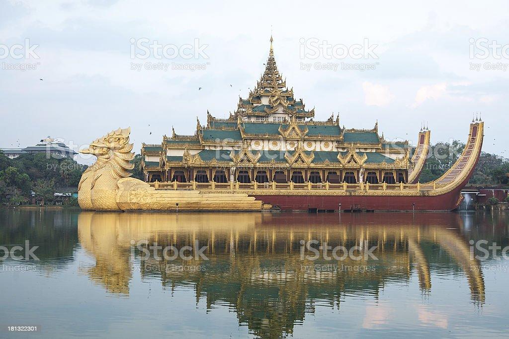 Karaweik Hall at Kandawgyi Lake in Yangon stock photo