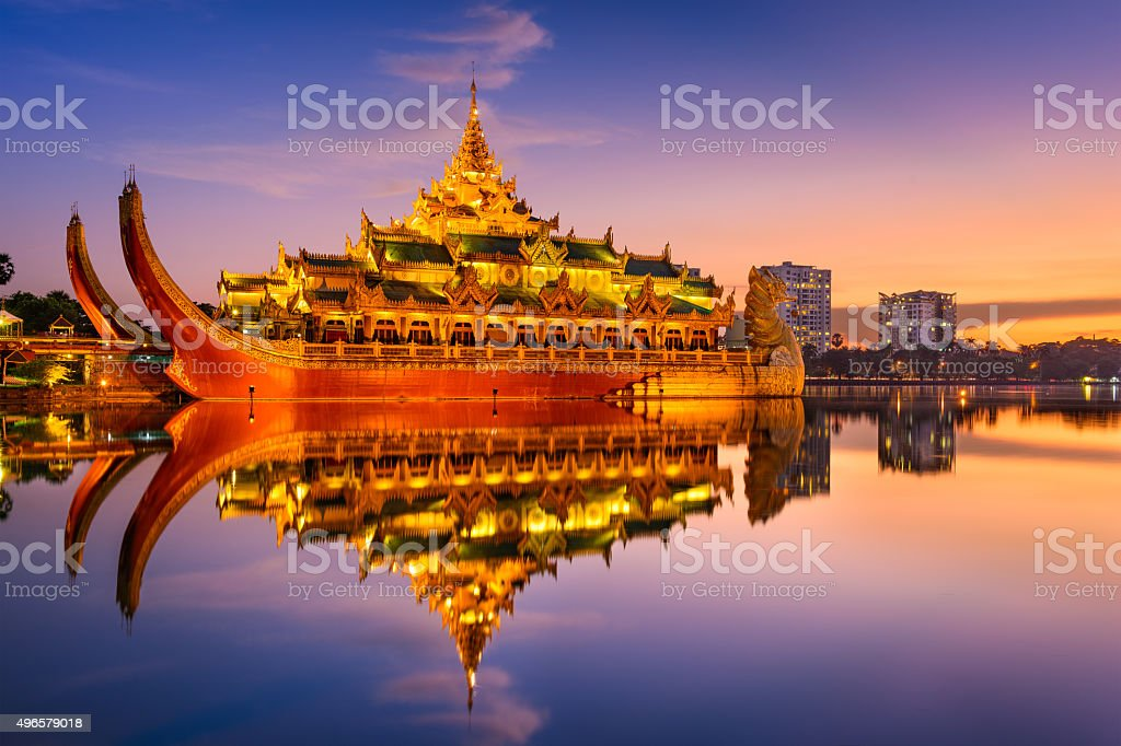 Karaweik Palace in Myanmar stock photo