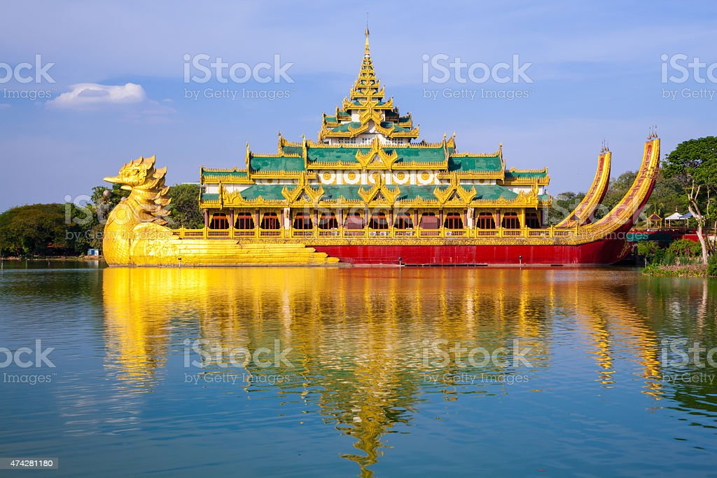 Karaweik palace, Yangon, Myanmar stock photo