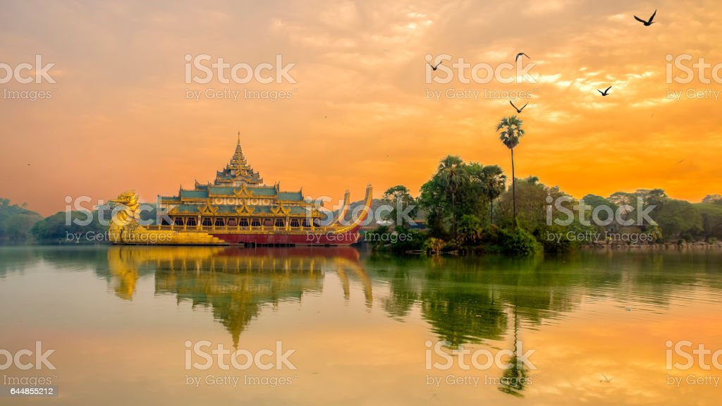 Karaweik palace Yangon Myanmar stock photo