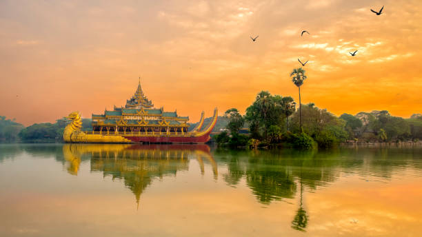 Karaweik palace Yangon Myanmar Kandawgyi park, Myanmar myanmar stock pictures, royalty-free photos & images