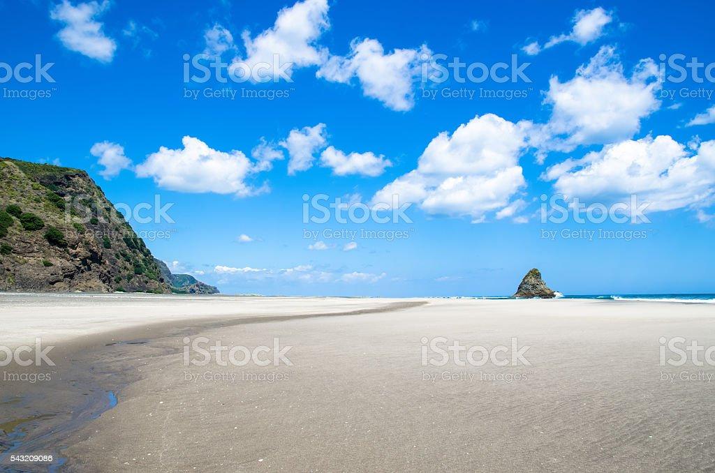 Karekare beach in New Zealand stock photo