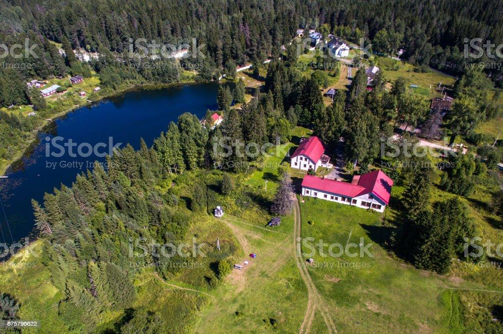 Karelia lake aerial view stock photo