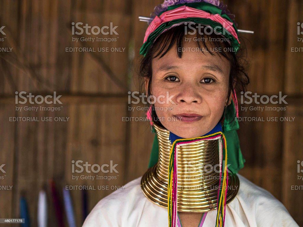 Karen Long Neck Woman in Hill Tribe Village stock photo