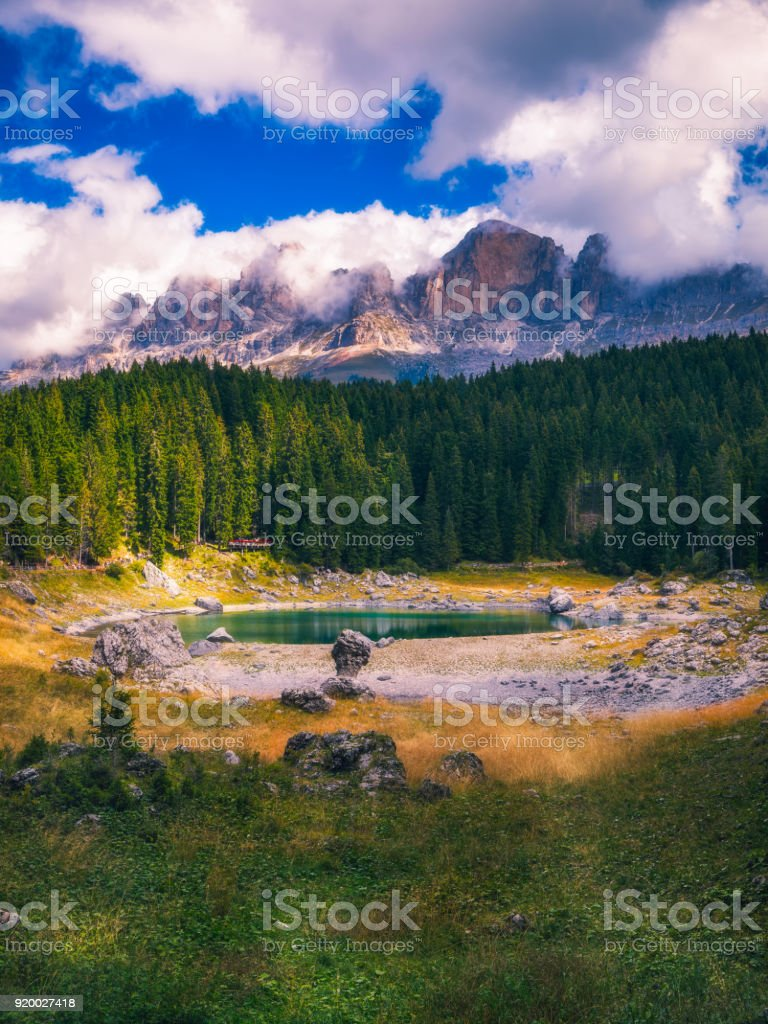 Karersee (Lago di Carezza), is a lake in the Dolomites in South Tyrol, Italy. stock photo
