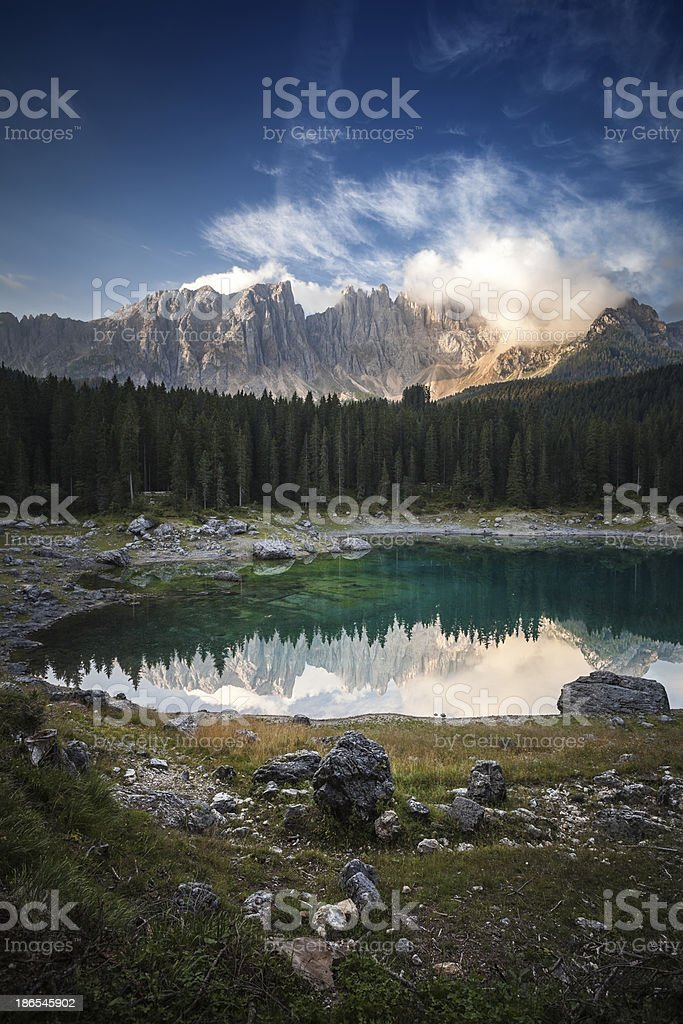 Karersee lake and Dolomites in the morning, Italy. royalty-free stock photo
