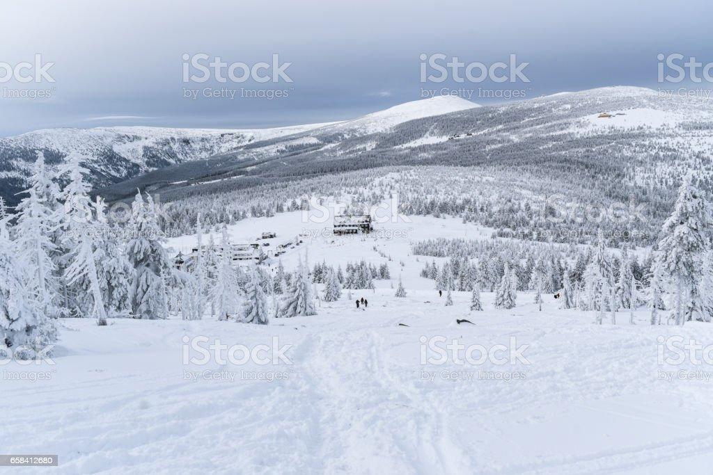 Karkonosze mountains in winter stock photo