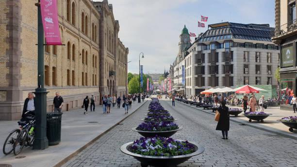 Karl Johan gate in Olso stock photo