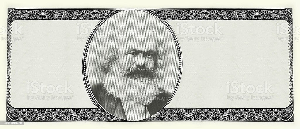 Karl Marks on dollar portrait icon on blank banknot stock photo