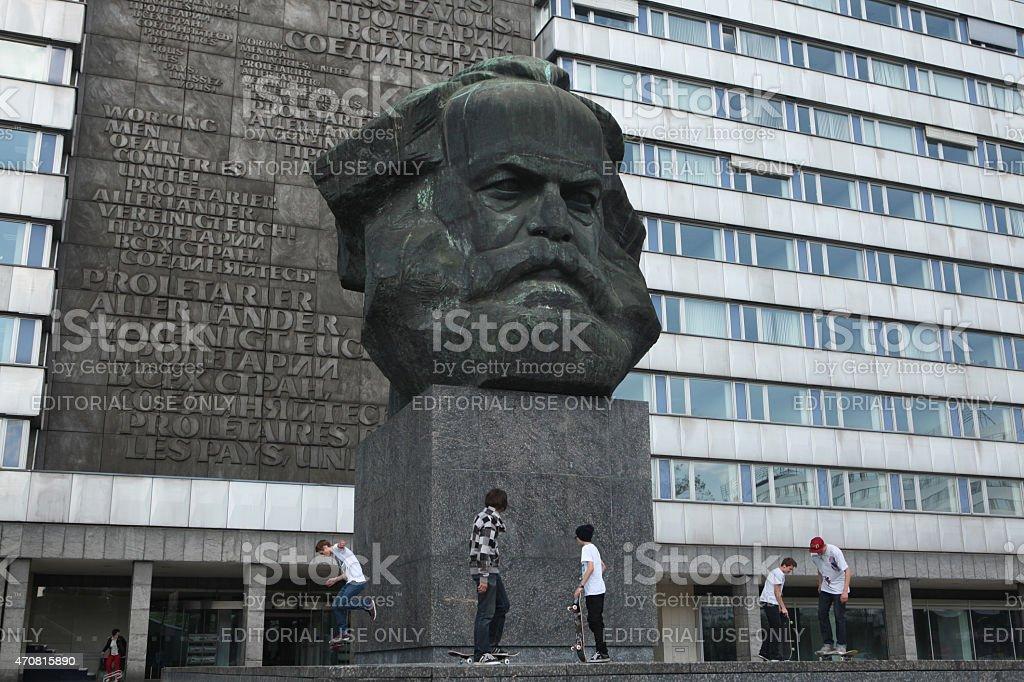 Karl Marx Monument in Chemnitz, Saxony, Germany. stock photo