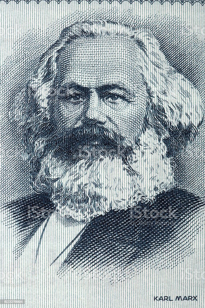 Karl Marx portrait from old German money stock photo
