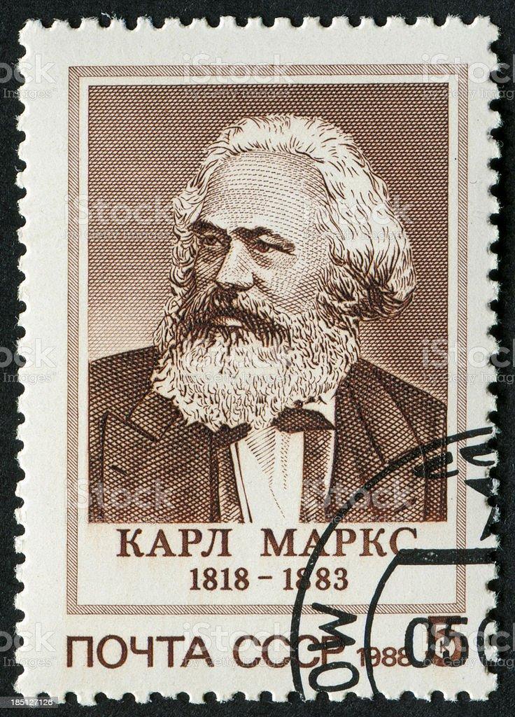 Karl Marx Stamp stock photo