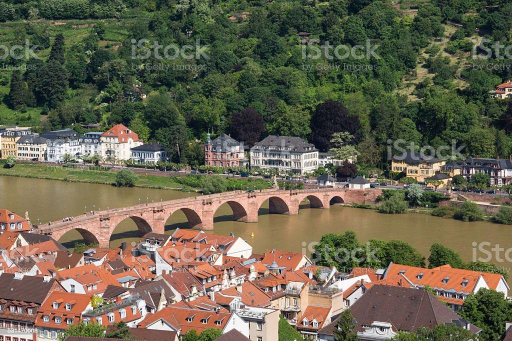 Karl Theodor Bridge in Heidelberg stock photo