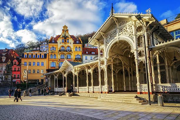 Karlovy Vary, Carlsbad, famous resort town in Bohemia, Czech Republic stock photo