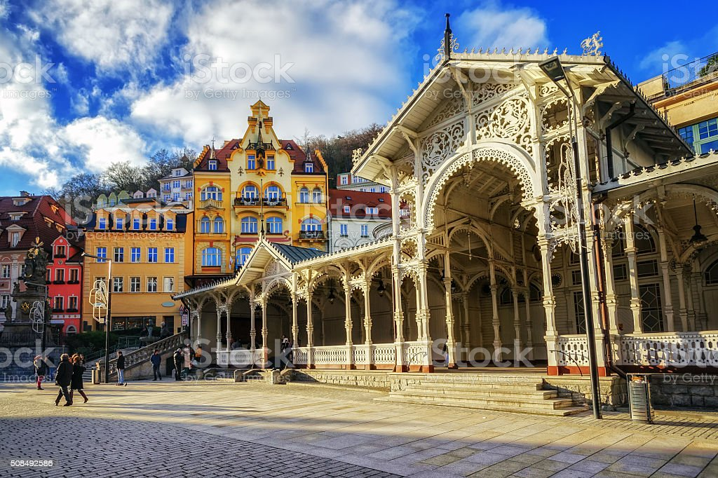 Karlovy Vary, Carlsbad, famous resort town in Bohemia, Czech Republic stock photo