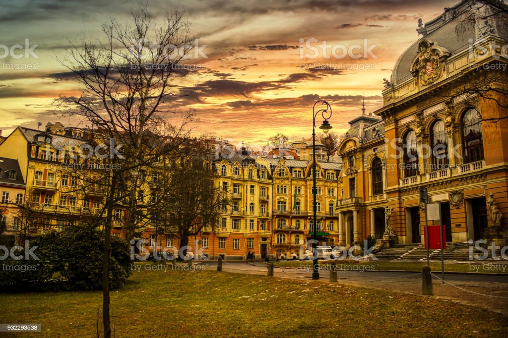 Karlovy Vary city and Canal, Buildings and nature on a beautiful colorful cloudy day stock photo