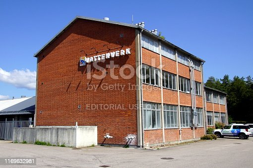 Karlshamn, Sweden - July 15, 2019: Karlshamn Energi service building against a blue sky.