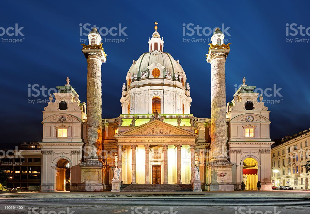 Karlskirche (St. Charles Cathedral) at dusk in Vienna, Austria royalty-free stock photo