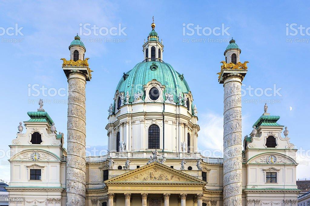 Karlskirche at dusk, Vienna Austria stock photo