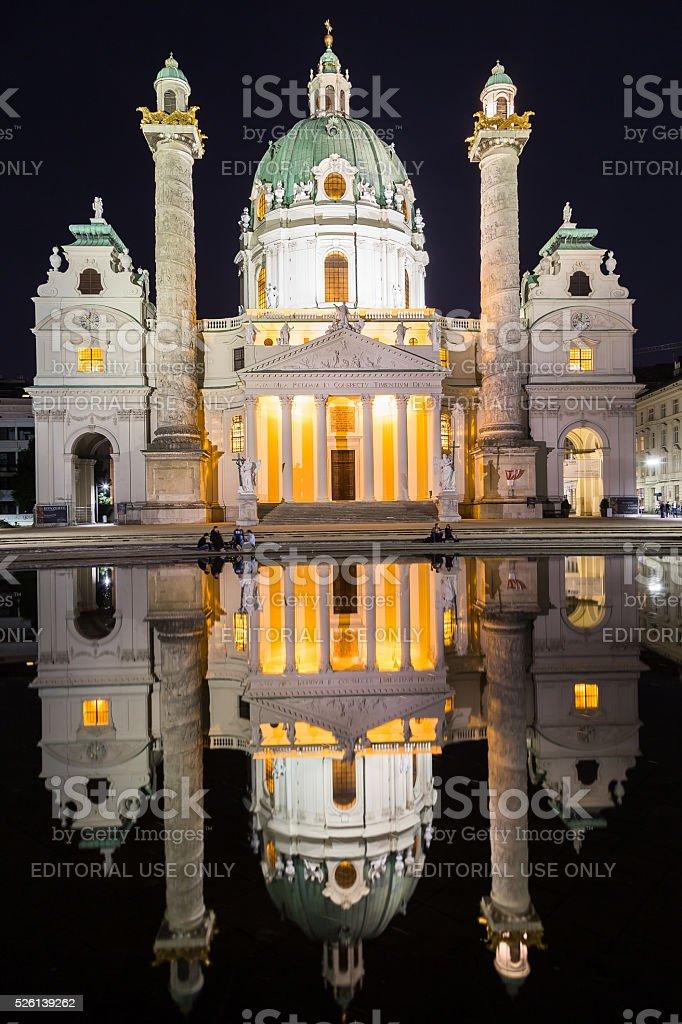 Karlskirche in Vienn at night. stock photo