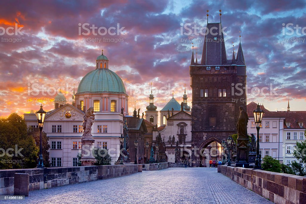 Karluv most (Charles Bridge) early in the morning stock photo
