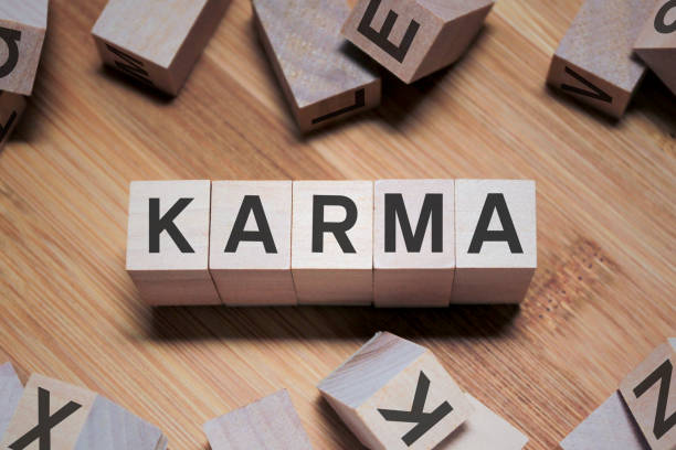 Karma Word In Wooden Cube stock photo