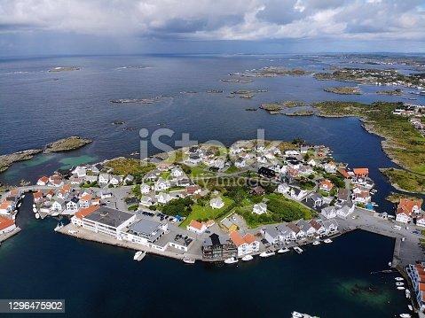 Karmoy island, Norway - Akrehamn drone view.