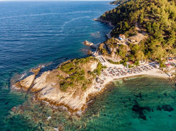 Karnagio bay and beach near Thasos main city Limenas aerial view stock photo