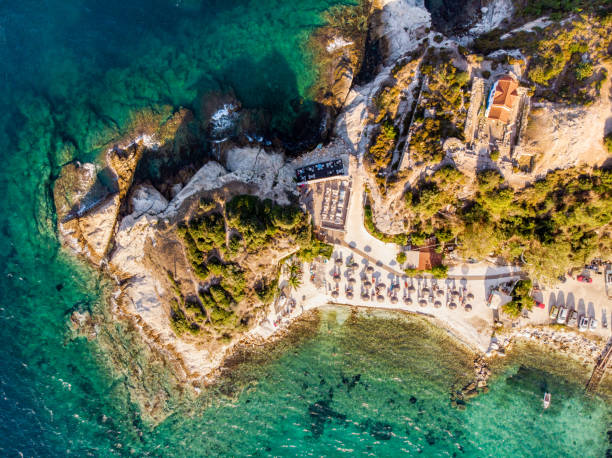 Karnagio beach bay on Thasos Island, Greece stock photo