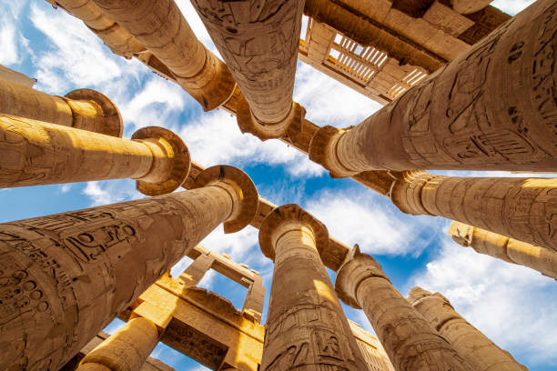 Karnak Hypostyle hall columns in the Temple at Luxor Thebes stock photo