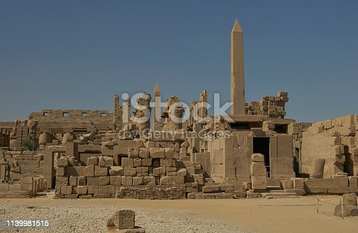 The famous Karnak Temple Complex in Luxor, Egypt in Northern Africa.  The complex comprises a vast mix of decayed temples, chapels, pylons, and other buildings near Luxor, in Egypt.