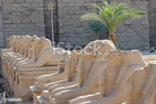 istock Karnak Temple. Egyptian Art. Avenue of sphinxes with ram's head. Luxor Egypt 1218994964