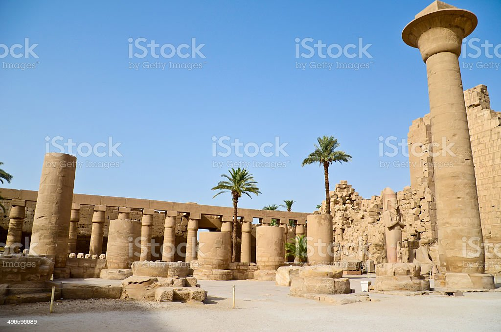 Karnak Temple view on obelisks and Great Hypostyle Hall, Luxor, royalty-free stock photo