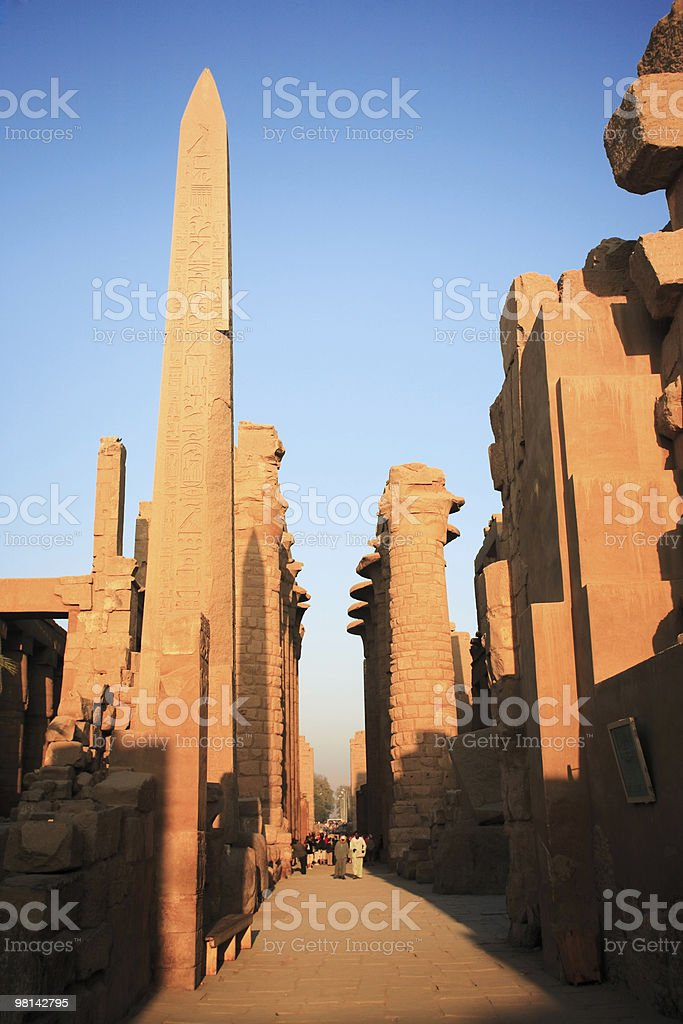 Karnak temple with the Obelisk royalty-free stock photo