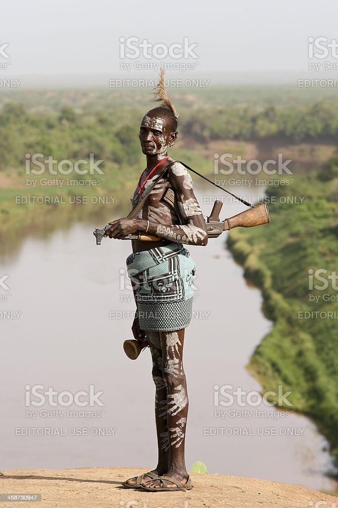 Karo Tribe Man With The Rifle stock photo