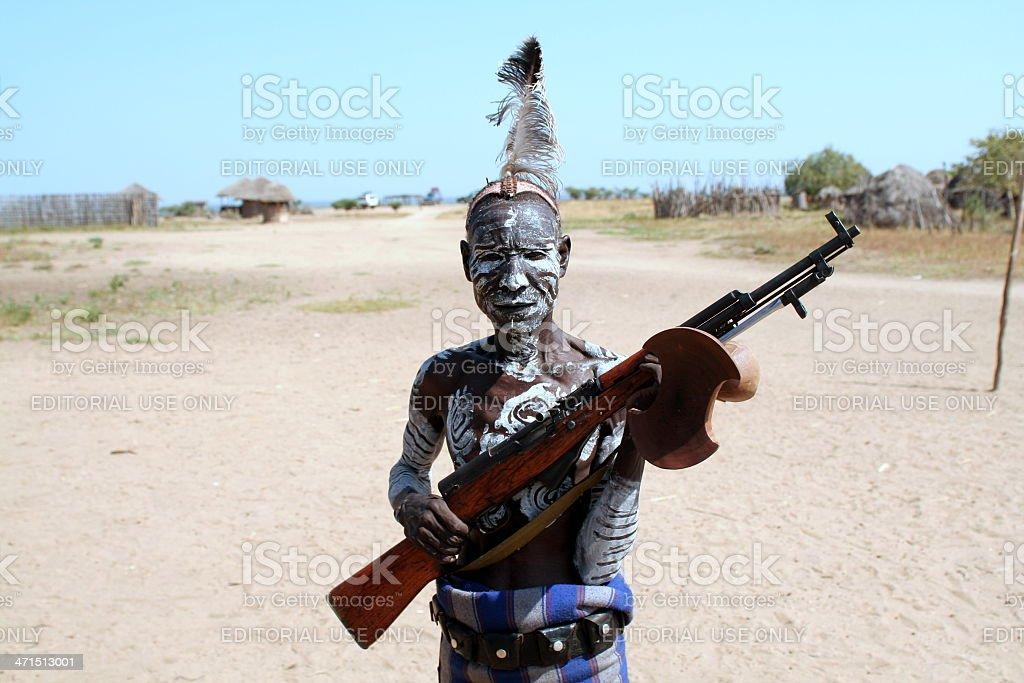 Karo Tribesman, Kolcho Village, Lower Omo Valley, Ethiopia stock photo