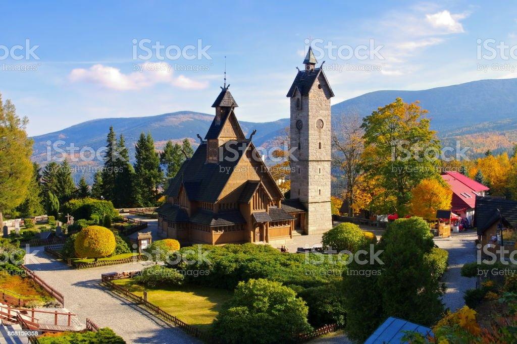 Karpacz church Vang in Giant Mountains stock photo