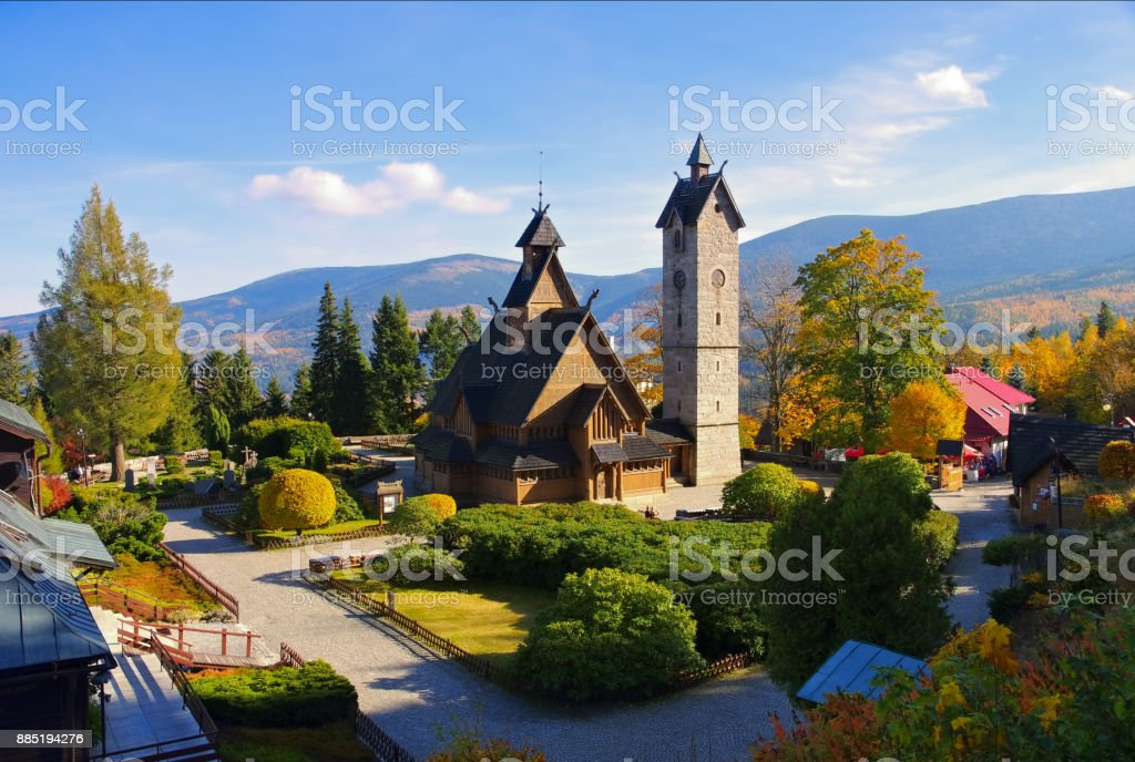 Karpacz church Vang in Giant Mountains stock photo