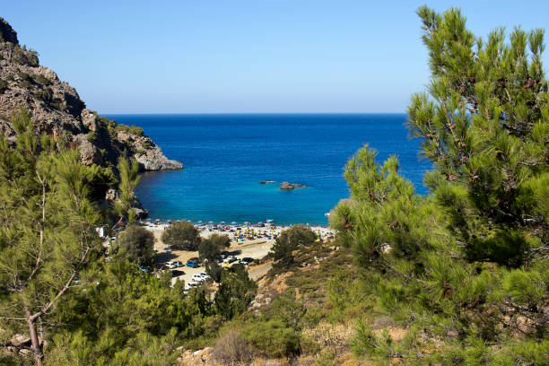 Karpathos island, panoramic view of Ahata beach in summer day. Aegean sea, Dodecanese Islands, Greece stock photo