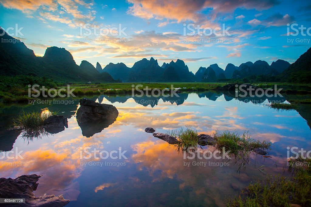 Karst area rural sunset ,Yangshuo,Guilin,China stock photo