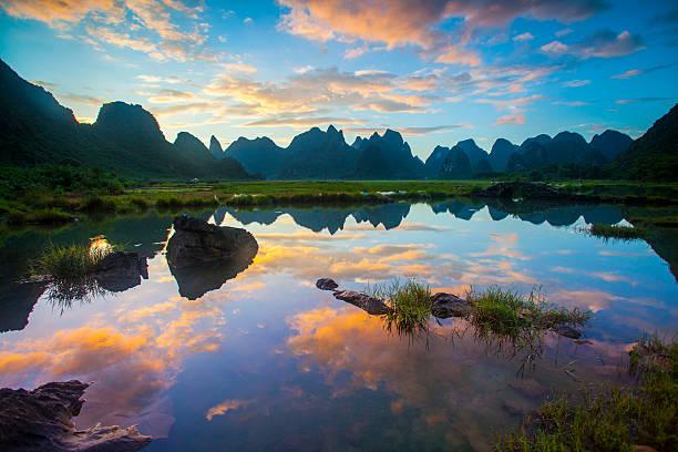 Karst area rural sunset ,Yangshuo,Guilin,China stock photo