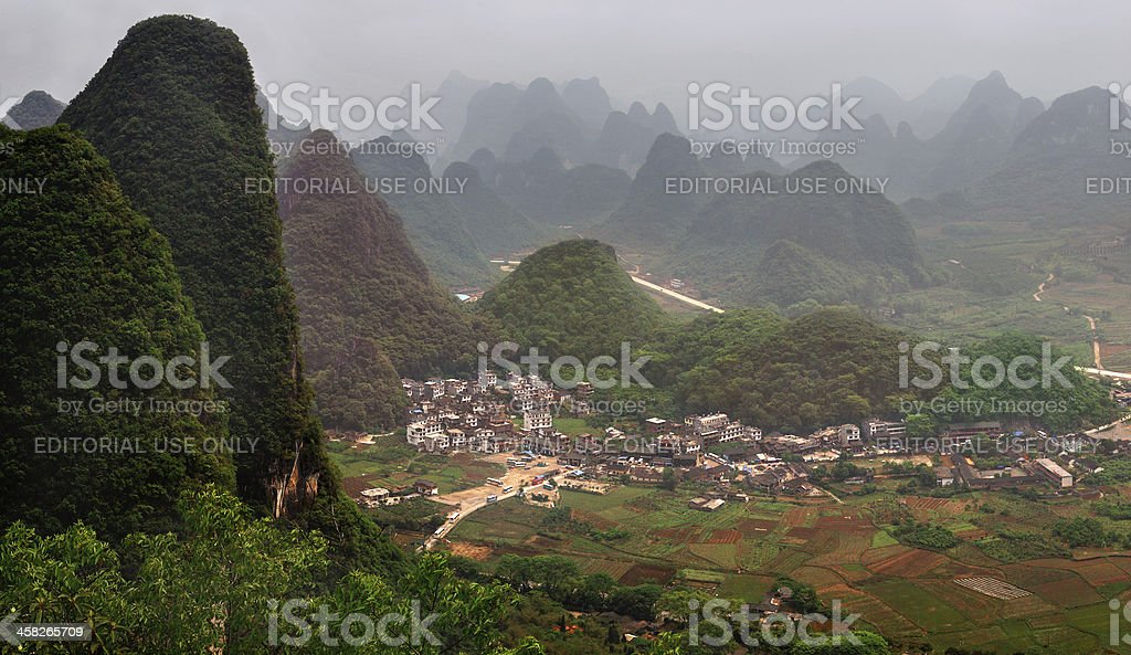 Karst hills around Guilin, near the town of Yangshuo, China. royalty-free stock photo