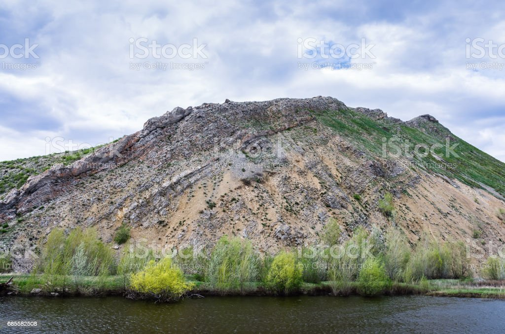 Karst lake at the foot of the Nos mountain, Southern extremity of the Karamurun-tau ridge (Ural Mountains) royalty-free 스톡 사진