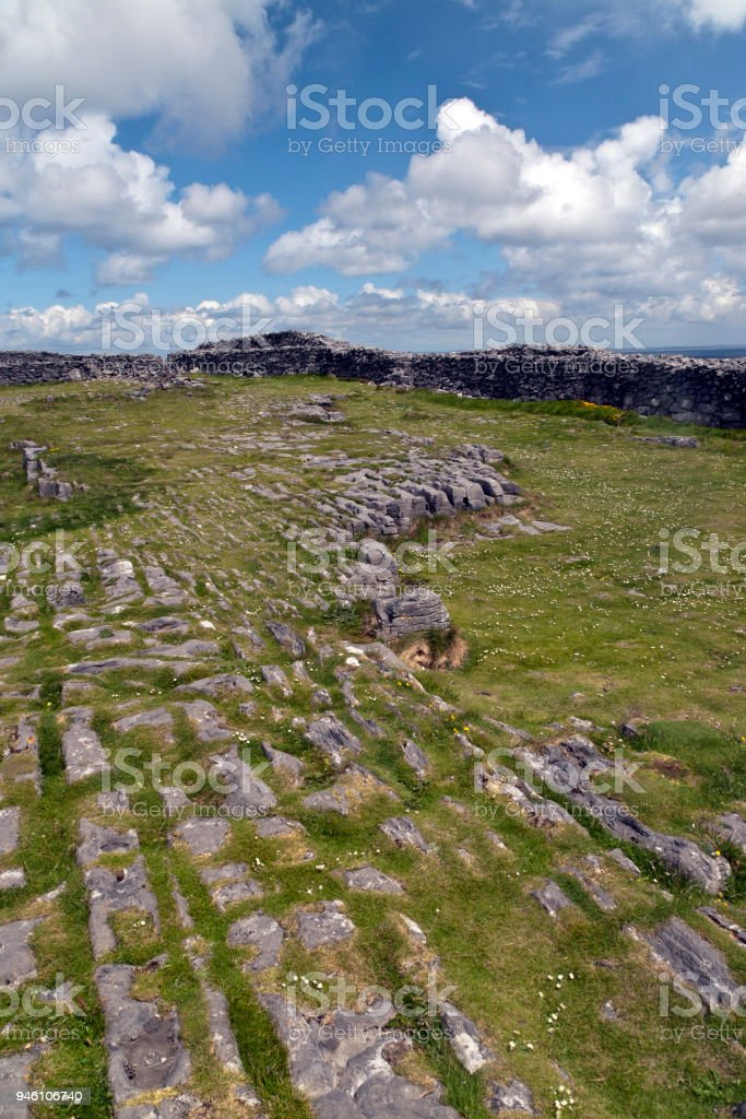 Karst Landscape with Interior Walls of Dun Aonghasa stock photo